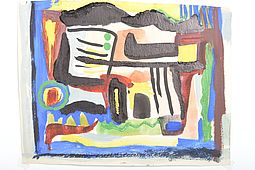 Abstract Composition, Watercolor Painting 20.Century Art