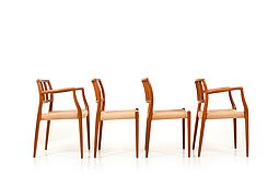 Model 83/66 Teak Dining Chairs by Niels O. Møller 1960s