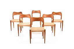 Set of Six Danish Teak Wooden Dining Chairs