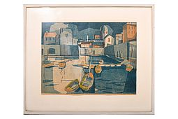 "Robert FÖRCH (1931) Woodcut in Colors 1955 ""Cinque Terre"""