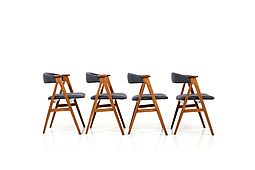 Set of 4 Mid Century Danish Dining Chairs in Oak and Teak. New Upholstered!