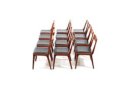 Early Set of 12 Boomerang Teak Chairs by Alfred Christensen
