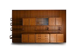 Rare  CADO Poul Cadovius Teak Wall System with oraganic shaped Shelfes