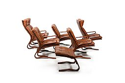 "Danish Cognac Leather Seating Group ""Skyline"" by Einar Hove"