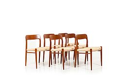 Set of Six Danish Dining Chairs by Niels Otto Møller Model No.75
