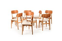 Set of 8 Danish Dining Chairs in Teak and Oak 1950s.