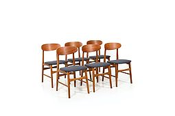 Set of 6 Mid Century Dining Chairs with Teak New Upholstered!