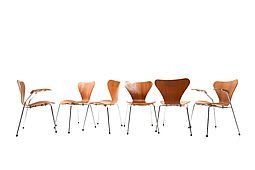 "Set of Six Arne Jacobsen Chairs in Teak ""Series 7"""