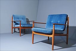 Pair of Easychairs Mod. 118 by Grete Jalk