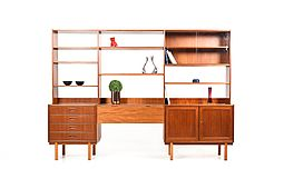 Mid Century Scandinavian modern Wall Unit / Shelf System in Teak
