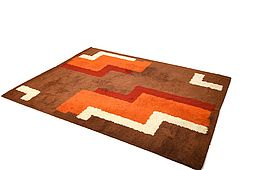Large Space Age Wool Rug / Carpet by Reichel 1970s