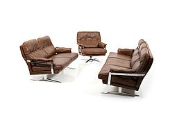 Vintage Hand-Stitched Leather and Chrome Seating Group by Arne Norell