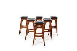 Set of Six Mid Century Johannes Andersen Teak Bar Stools