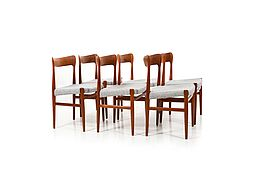 Set of six Danish Mid Century organic shaped Chairs in solid Teak