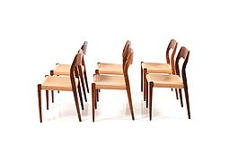 Set of 6 Dining Chairs Model No.71 by N.O.Moller early 1960s.