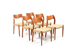 Set of 6 Dining Chairs by Niels O. Moller, Model 71