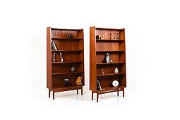 Mid Century Pair of conical Danish Bookshelves / Cases in Teak