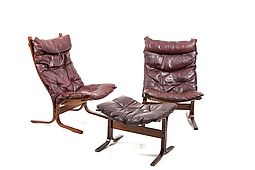 Siesta High Back Lounge Chairs and Ottoman by Ingmar Relling for Westnofa
