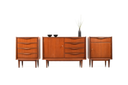 Mid Century Conical Three-Piece Sideboard in Teak from the 1950s