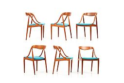 Set of six Teak Dinning Chairs Model 16 by Johannes Andersen. Early Production!