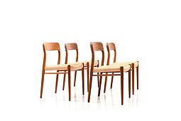 Set of 4 Dining Chairs by Niels O. Moller, Model 75