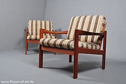 Pair of N.Eilersen Easy Chairs in Teak