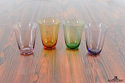 4 colored Glasses from 1960s