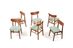 Set of 6 Mid Century Danish Dining Chairs in Teak and Oak