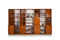 Large Finn Juhl Modular Teak Wall Unit / Room Divider