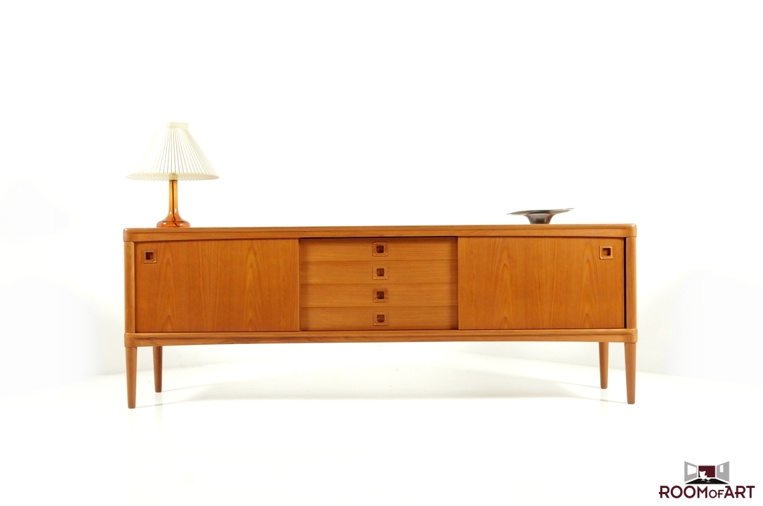 low teak wooden sideboard by h w klein room of art. Black Bedroom Furniture Sets. Home Design Ideas