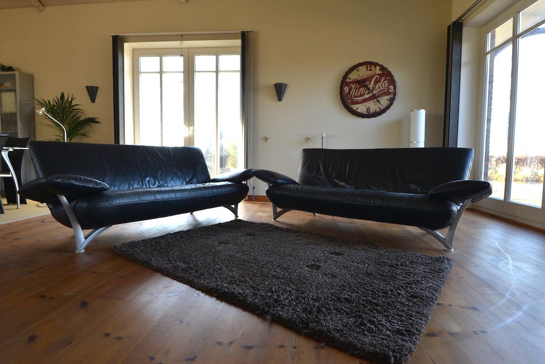 rolf benz black leather sofa set room of art. Black Bedroom Furniture Sets. Home Design Ideas