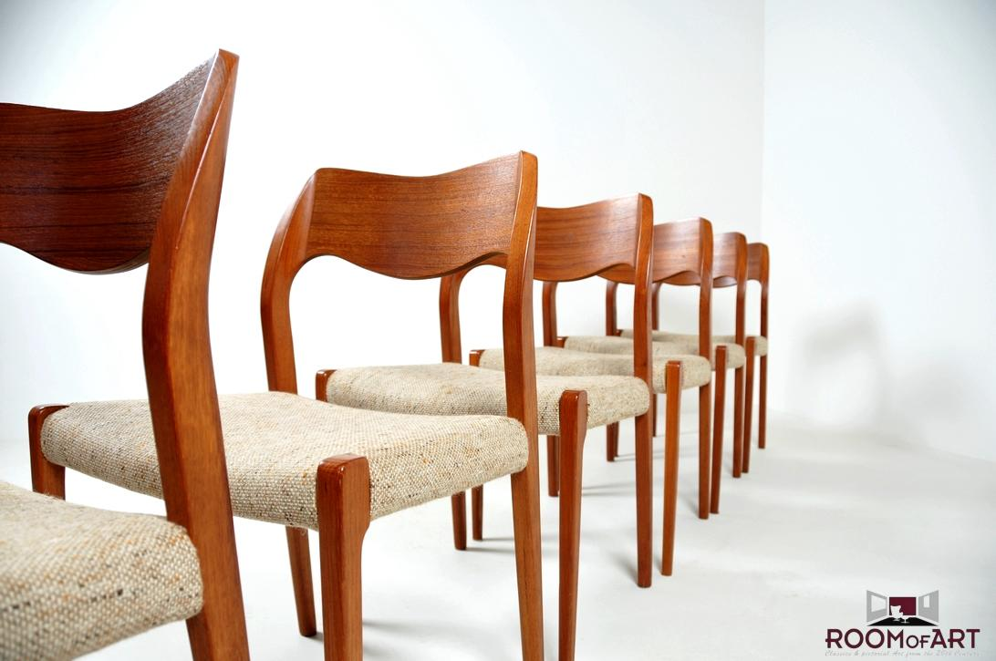 six dining chairs model 71 by n o möller room of art
